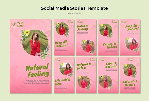 Historias de redes sociales de sentimiento natural PSD Premium