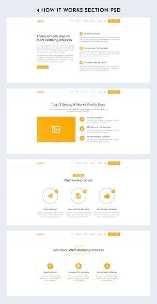 Hoe het werkt sectie web ui kit Premium Psd