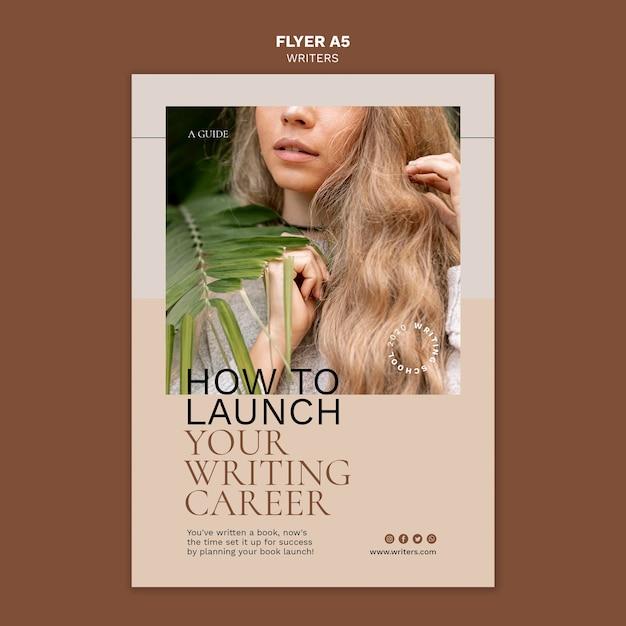 Hoe u uw flyer-sjabloon voor uw schrijfcarrière start Gratis Psd