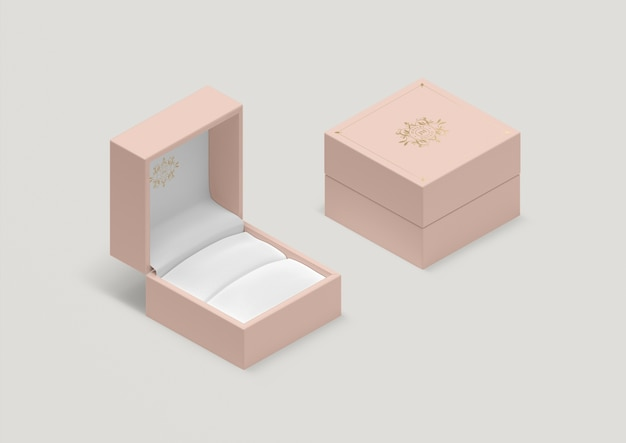 Hoge hoek lege roze ring doos Gratis Psd