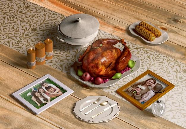 Hoge hoek van de maker van de thanksgiving-scène met frames mock-up Gratis Psd