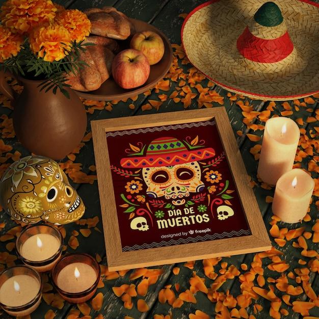 Hoge weergave shot van dia de muertos mock-up met schedel Gratis Psd