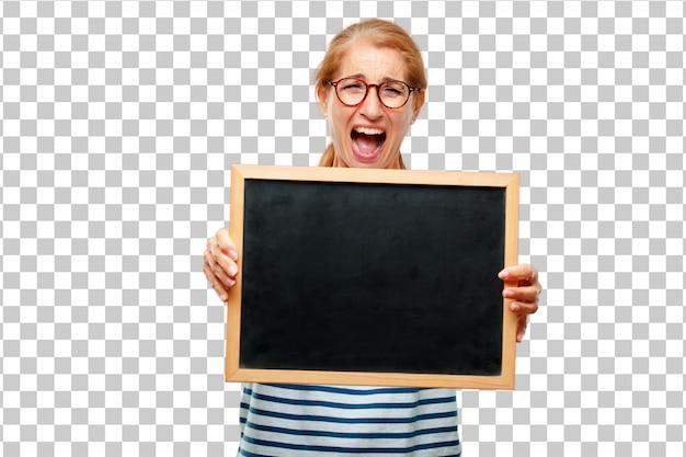 Hogere mooie vrouw met een aanplakbiljet Premium Psd