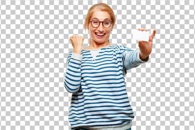 Hogere mooie vrouw met een bezoekkaart Premium Psd
