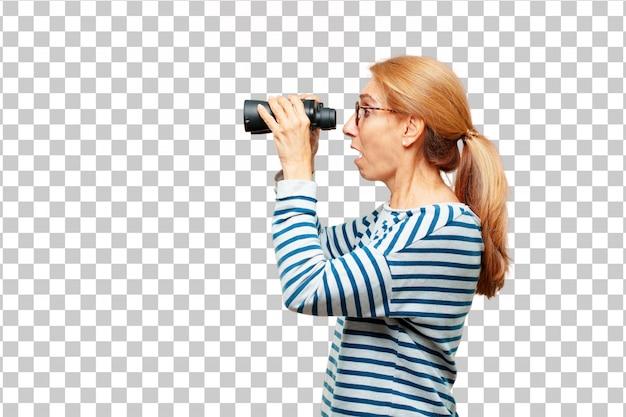 Hogere mooie vrouw met verrekijkers Premium Psd