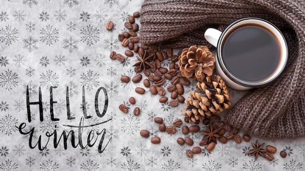 Hola mensaje de invierno junto al arreglo de invierno PSD gratuito