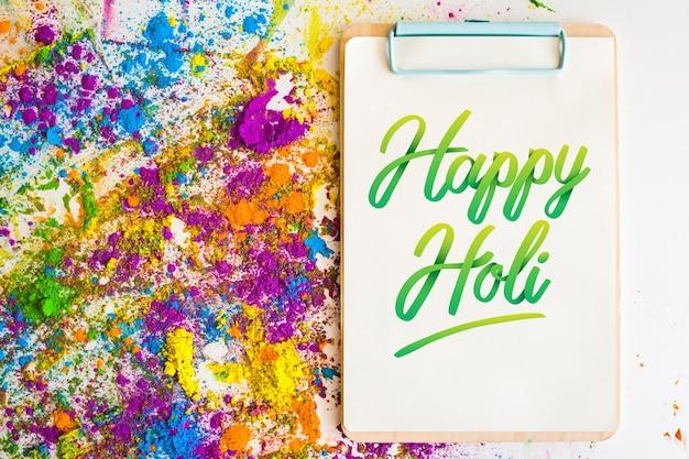 Holi festival mockup con appunti Psd Gratuite