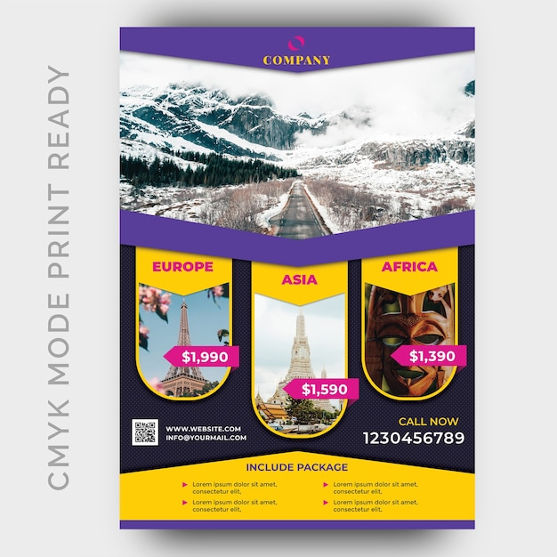 Holiday tour & travel flyer plantilla de diseño PSD Premium