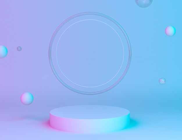 Holografisch 3d geometrisch podium voor productplaatsing met ringenachtergrond en bewerkbare kleur Gratis Psd