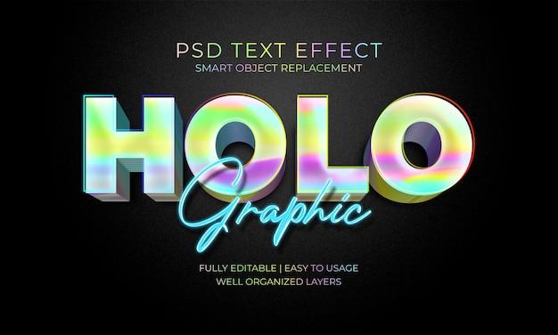 Holografische teksteffectsjabloon Premium Psd