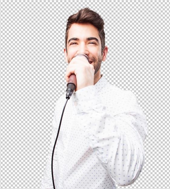 Hombre cantando con microfono PSD Premium