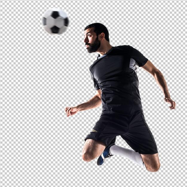 Hombre jugando futbol PSD Premium