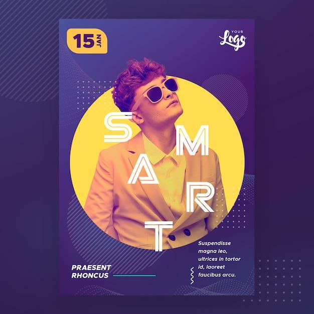Hombre con plantilla de póster inteligente de gafas de sol PSD gratuito