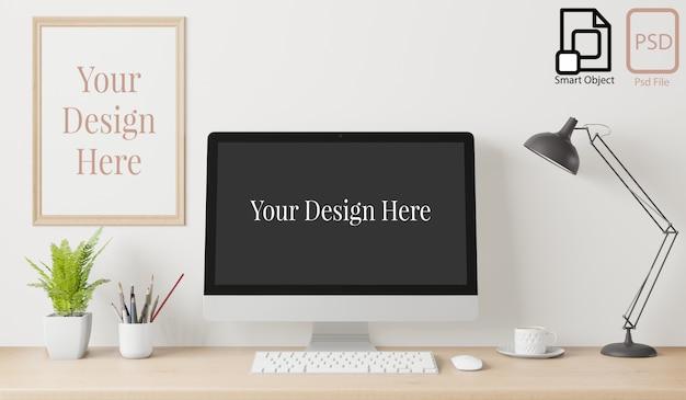 Home interieur poster mock up met frame op het bureau en de witte muur achtergrond. 3d-weergave. Premium Psd