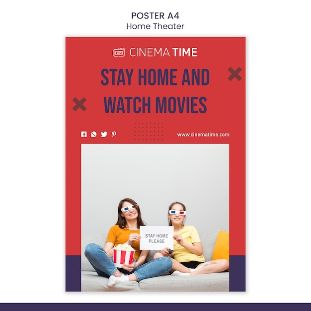 Home theater flyer sjabloon Gratis Psd