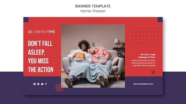 Home theater horizontale banner met foto Gratis Psd