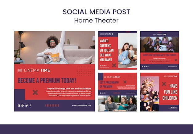 Home theater social media posts sjabloon Gratis Psd