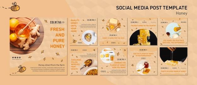 Honey shop social media postsjabloon Gratis Psd
