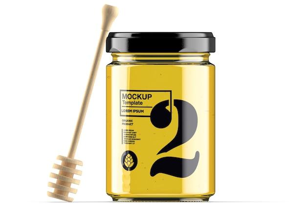 Honing glazen pot met lepel mockup geïsoleerd Premium Psd