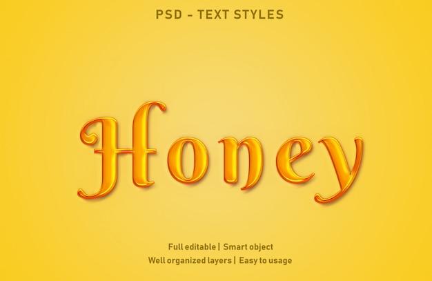 Honing teksteffecten stijl bewerkbare psd Premium Psd