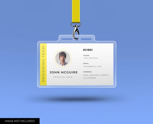 Hoofdkantoor id-kaart met mockup Premium Psd