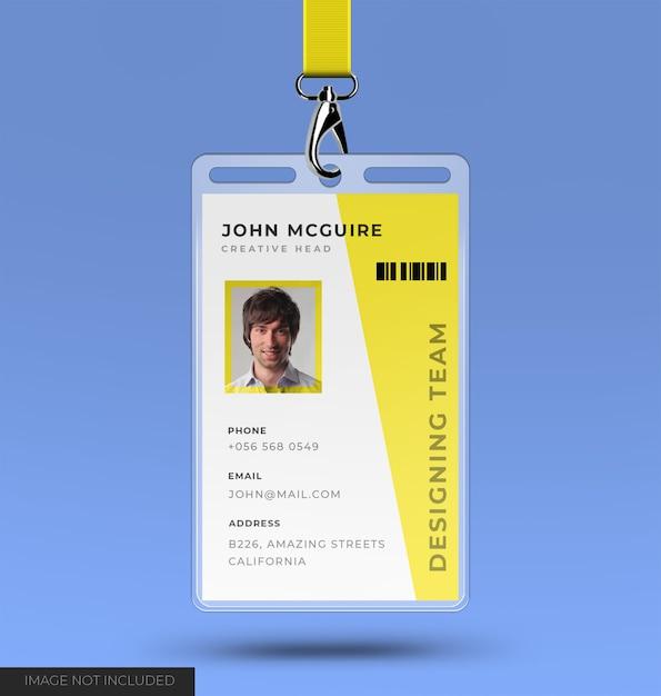 Hoofdkantoor id-kaart ontwerp met mockup Premium Psd
