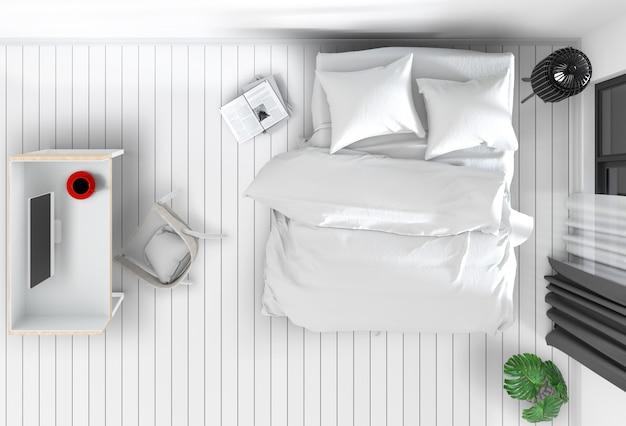 Hoogste mening van binnenlandse slaapkamer met bureaucomputer. 3d render Premium Psd