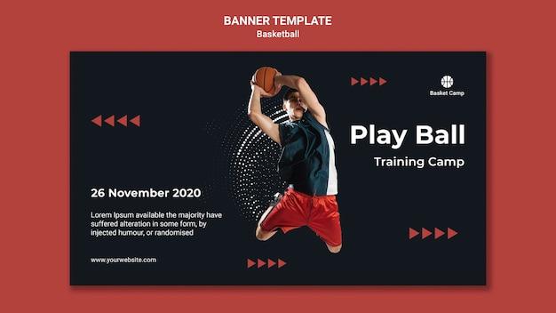 Horizontale banner voor basketbal trainingskamp Gratis Psd