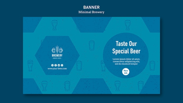 Horizontale banner voor bierproeverij Gratis Psd