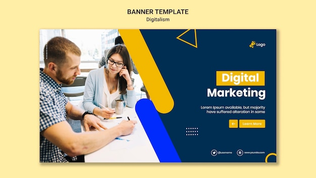 Horizontale banner voor digitale marketing Gratis Psd