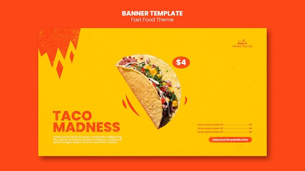 Horizontale banner voor fastfoodrestaurant Gratis Psd