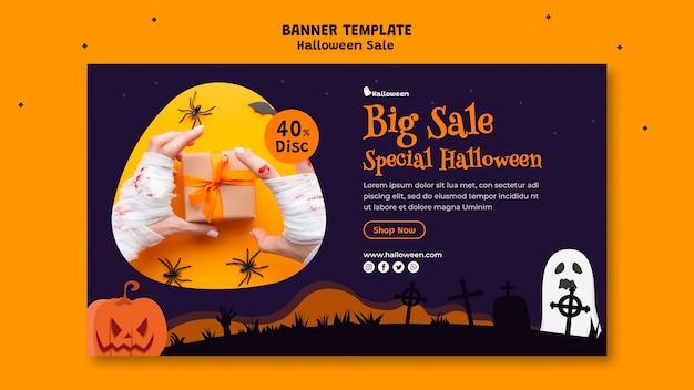 Horizontale banner voor halloween-verkoop Gratis Psd