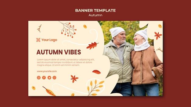 Horizontale banner voor het verwelkomen van het herfstseizoen Gratis Psd