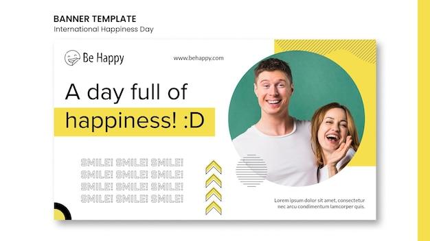 Horizontale banner voor internationale dag van geluk Gratis Psd
