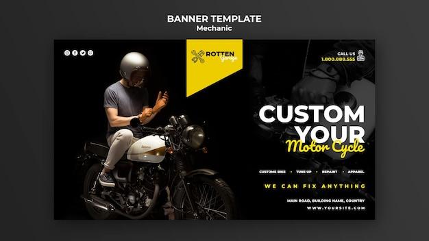 Horizontale banner voor motorfiets reparatiewerkplaats Gratis Psd
