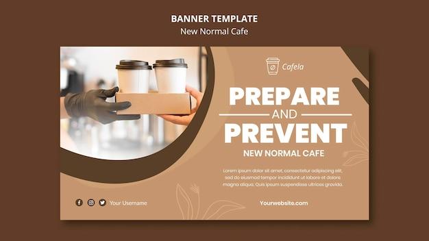 Horizontale banner voor nieuw normaal café Gratis Psd
