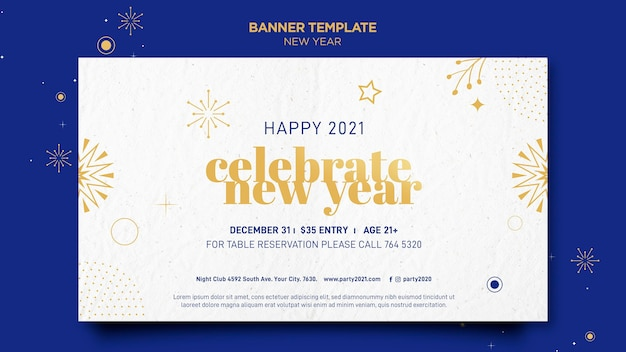 Horizontale banner voor nieuwjaarsfeest Gratis Psd