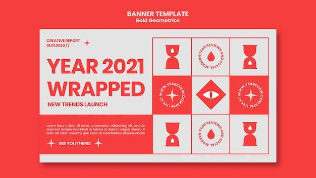 Horizontale banner voor nieuwjaarsoverzicht en trends Gratis Psd