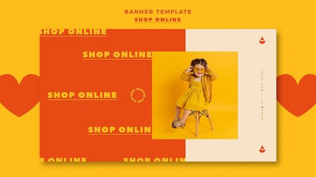 Horizontale banner voor online winkelen Gratis Psd
