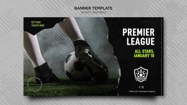 Horizontale banner voor voetbalclub Gratis Psd