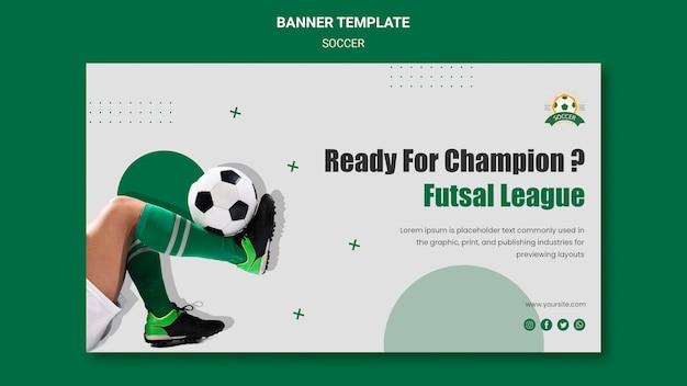 Horizontale banner voor voetbalcompetitie voor vrouwen Gratis Psd