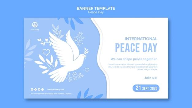 Horizontale banner voor vredesdag Gratis Psd