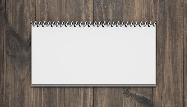 Horizontale kalendermodel met hout Gratis Psd