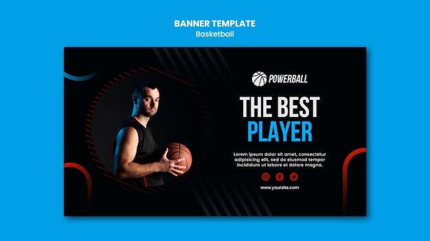 Horizontale sjabloon voor spandoek voor het spelen van basketbalspel Gratis Psd