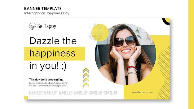 Horizontale sjabloon voor spandoek voor internationale dag van geluk Gratis Psd