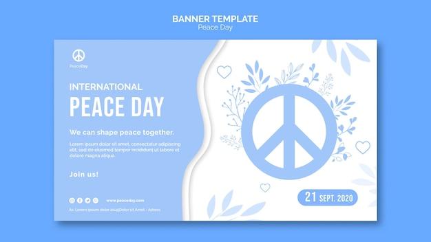 Horizontale sjabloon voor spandoek voor vredesdag Gratis Psd