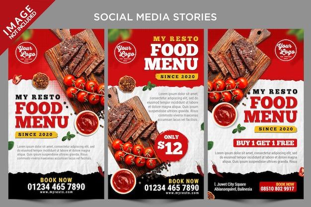 Hot item menu social media verhalen sjabloon Premium Psd