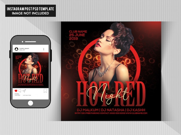 Hot red party flyer Psd Premium