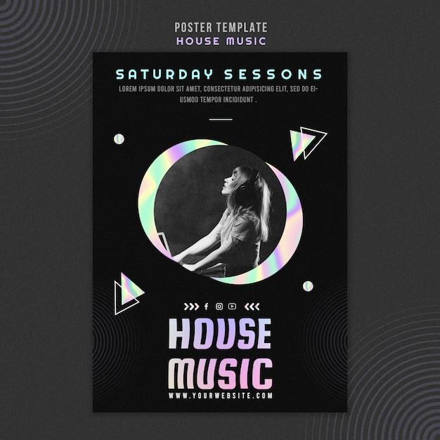 House muziek poster sjabloon Gratis Psd