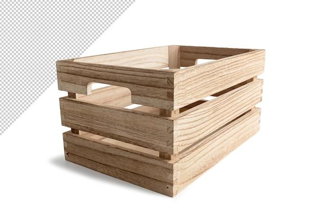 Houten doos die ontwerp geïsoleerd teruggeven Premium Psd